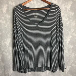 American Eagle soft & sexy grey stripe long sleeve